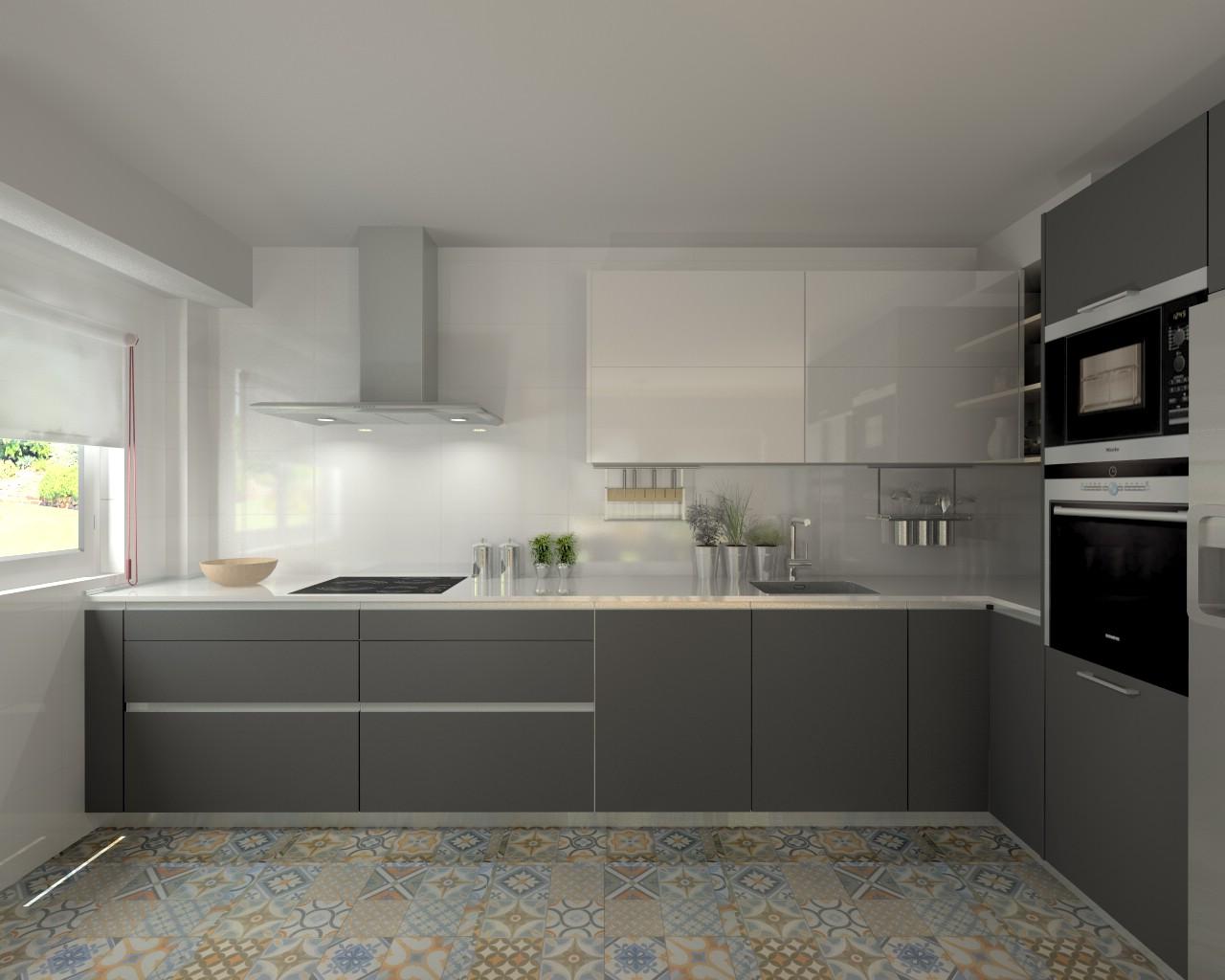 Madrid cocina santos modelo line e gris y line l for Cocinas blancas y grises fotos
