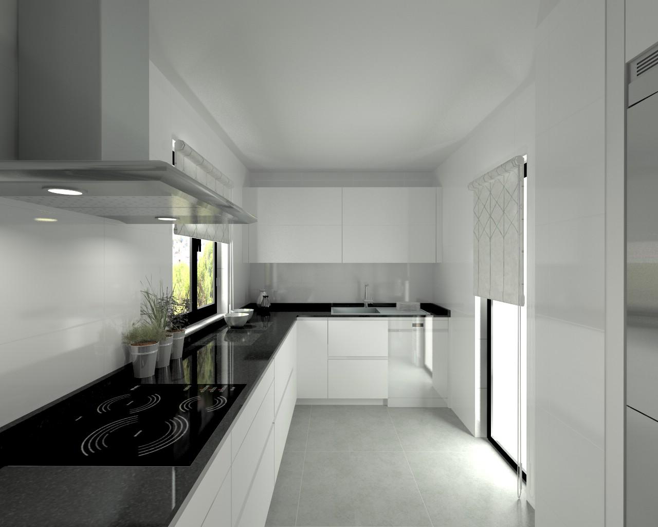 Proyectos de cocinas docrys cocinas for Encimera de cocina lacada en blanco negro