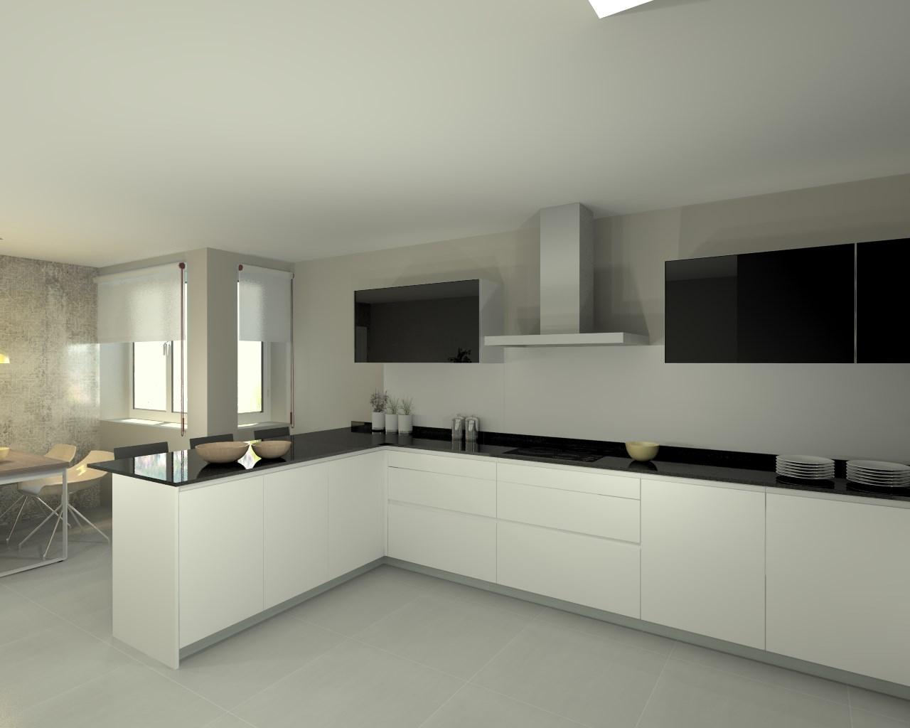 Aravaca cocina santos modelo line e blanco encimera for Cocina blanca encimera negra