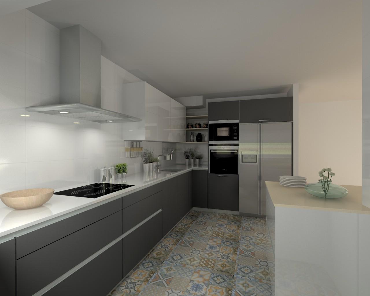 Proyectos de cocinas docrys cocinas for Encimera silestone blanco