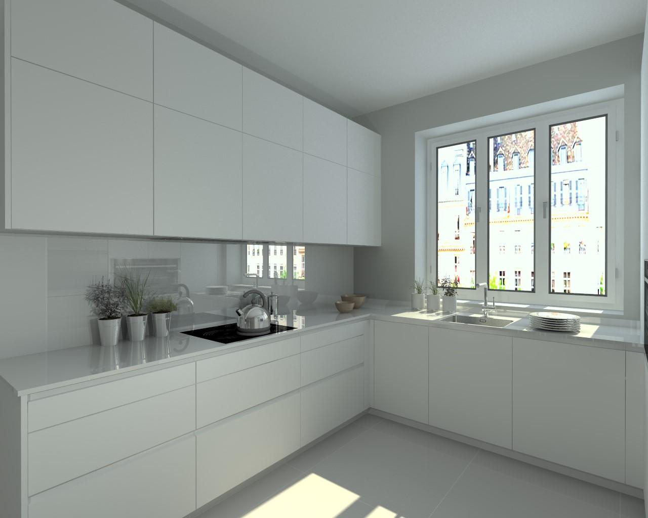 Aravaca cocina santos modelo line e blanco encimera Cocina blanca encimera granito negra