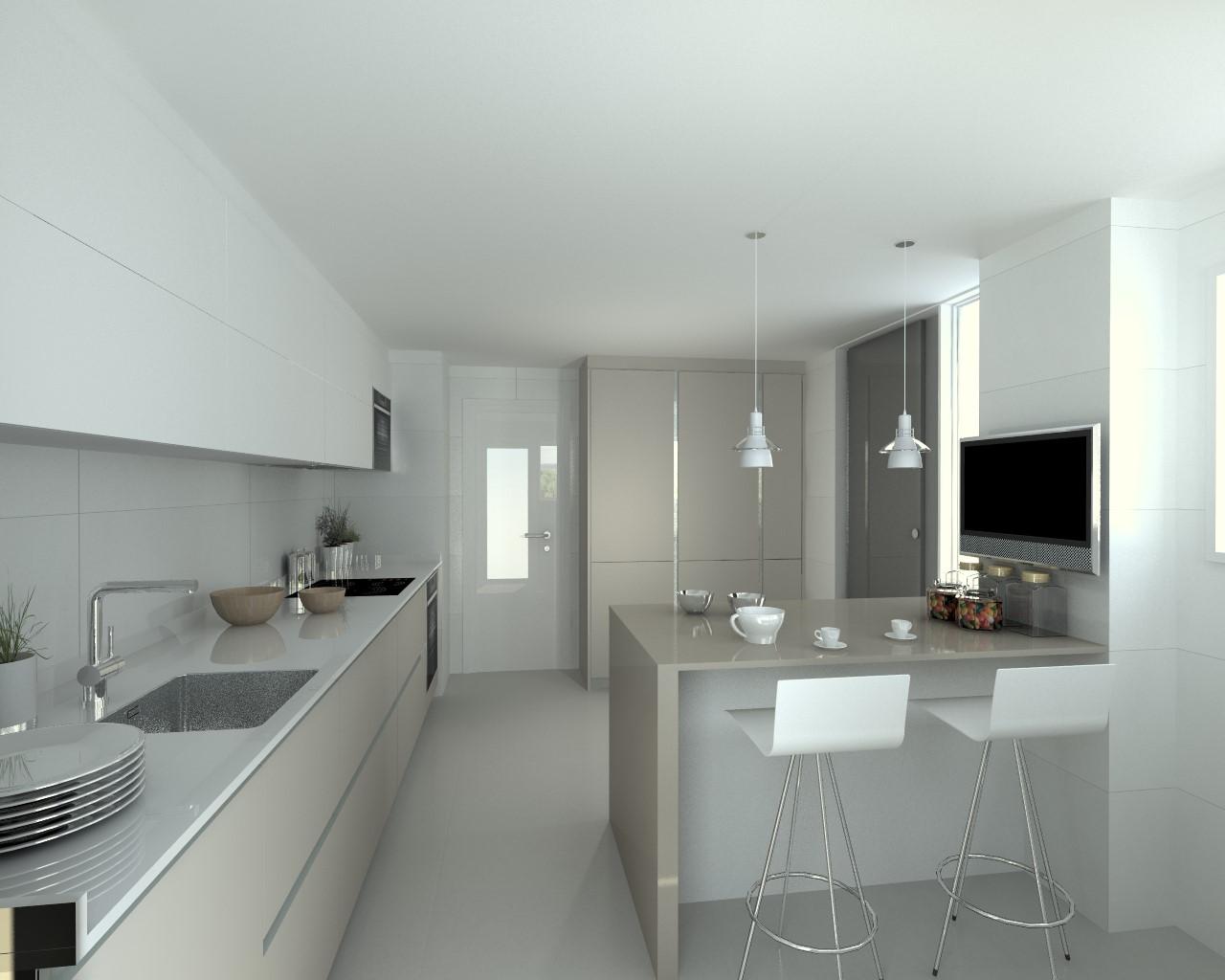 Cocinas blanca y gris gallery of cocina blanca gris - Cocinas grises con encimera blanca ...