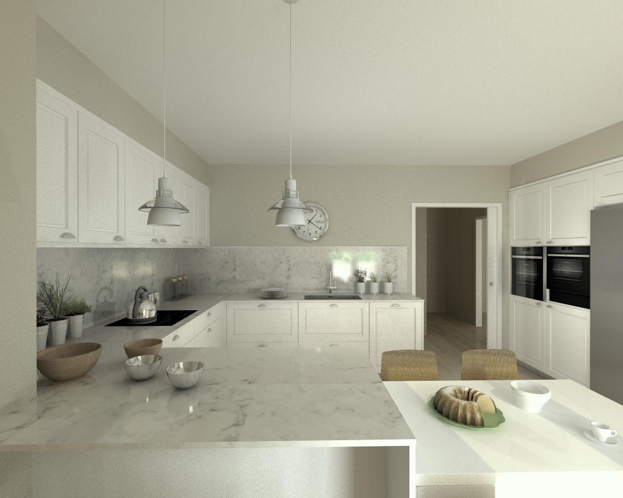 Aravaca cocina santos modelo epoca laca seda blanca encimera silestone lagoon docrys cocinas - Cocinas blancas con silestone ...