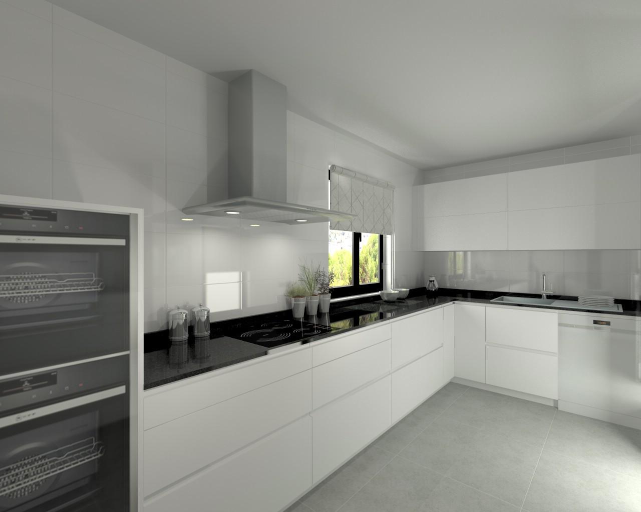 Aravaca cocina santos modelo line l blanco seda - Encimera granito negro ...