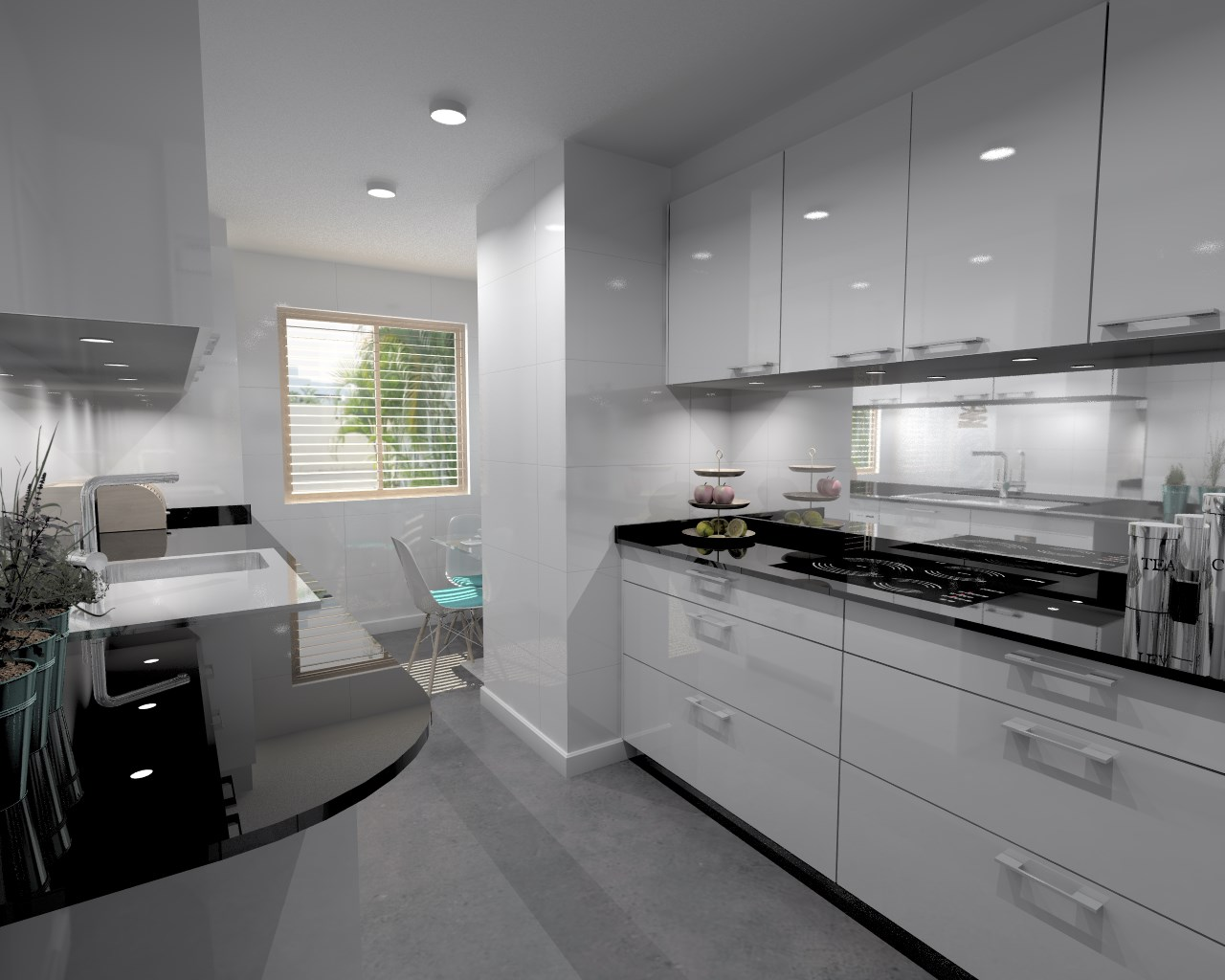 Proyectos de cocinas docrys cocinas for Encimera negra brillo