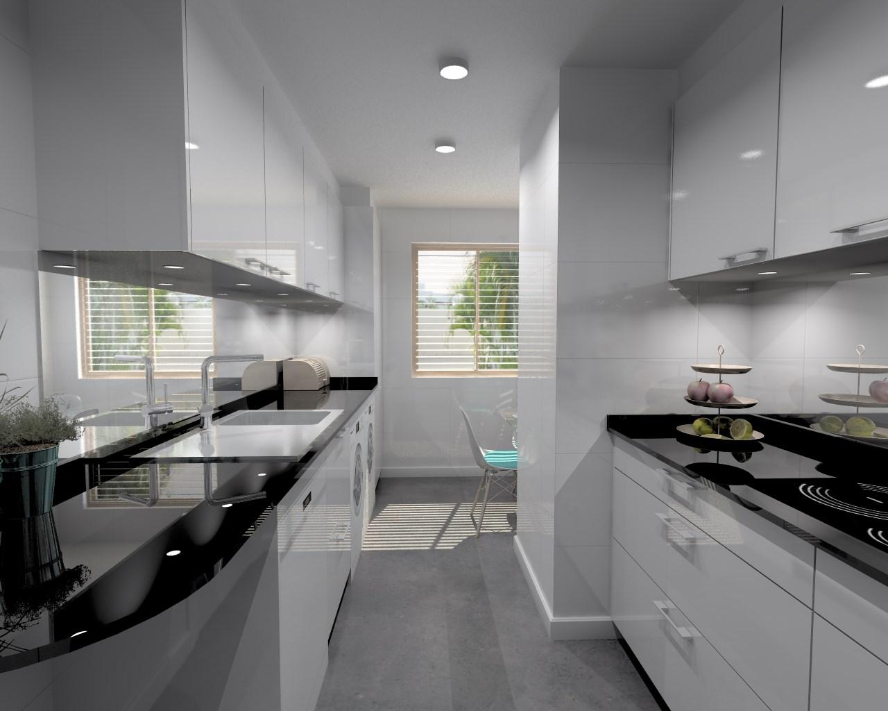 Aravaca cocina santos modelo plano laminado blanco brillo encimera granito sahara nights - Encimera cocina granito ...