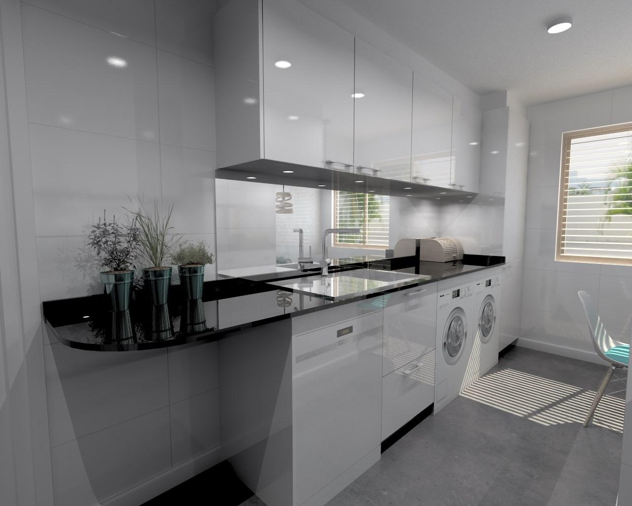 Aravaca cocina santos modelo plano laminado blanco Cocina blanca encimera granito negra
