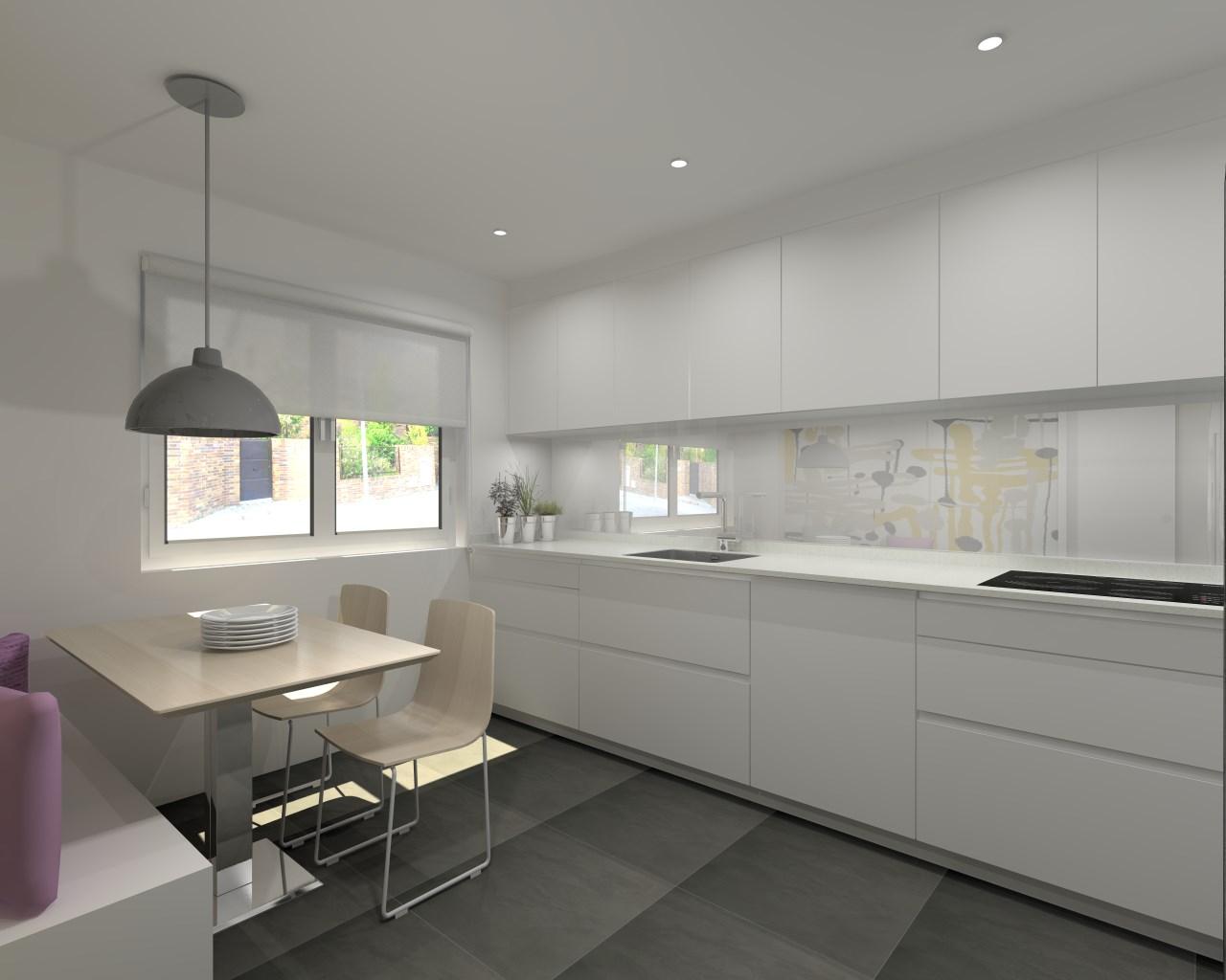 Aravaca cocina santos modelo line estratificado blanco for Disena tu cocina en 3d online