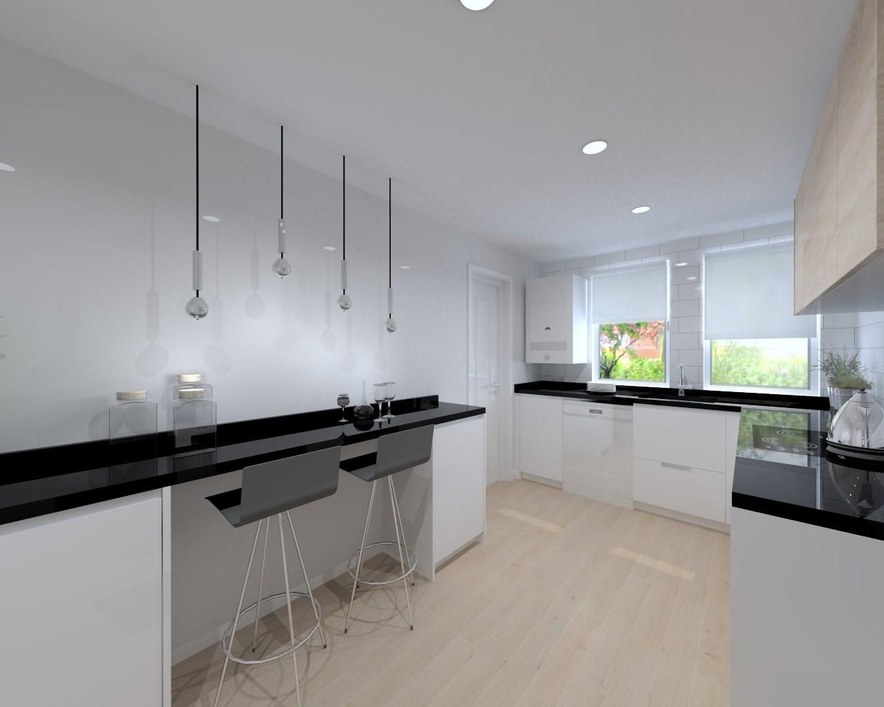 Aravaca cocina santos modelo line estratificado blanco for Cocinas de granito negro