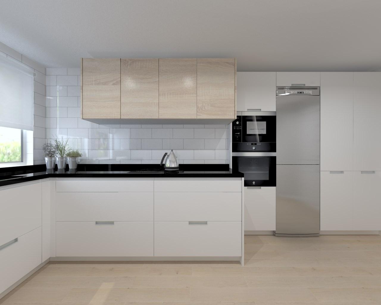 Aravaca cocina santos modelo line estratificado blanco Cocina blanca encimera granito negra