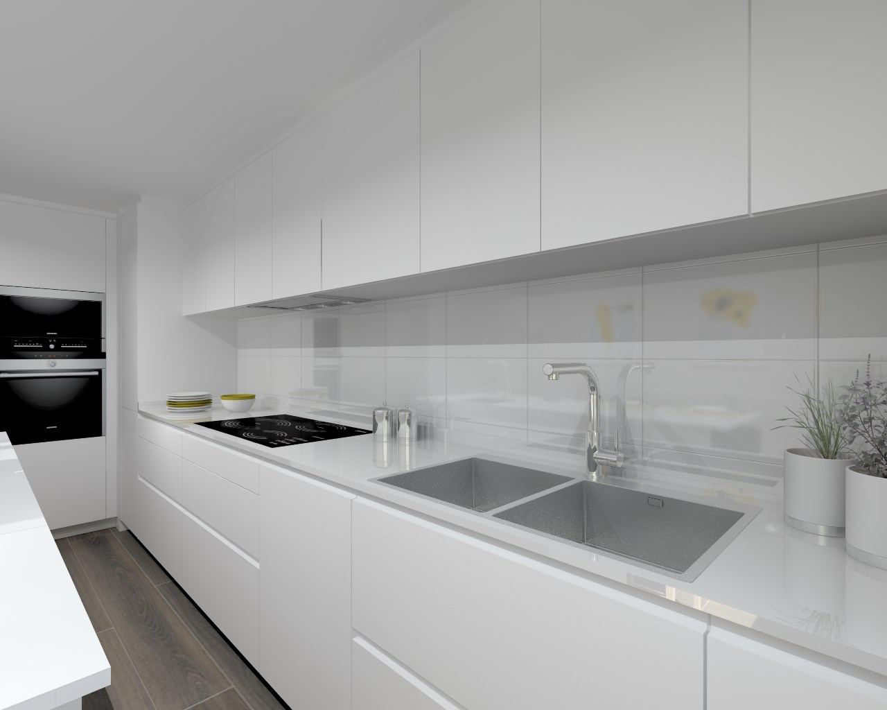 Aravaca cocina santos modelo laminado blanco for Proyecto cocina pequena