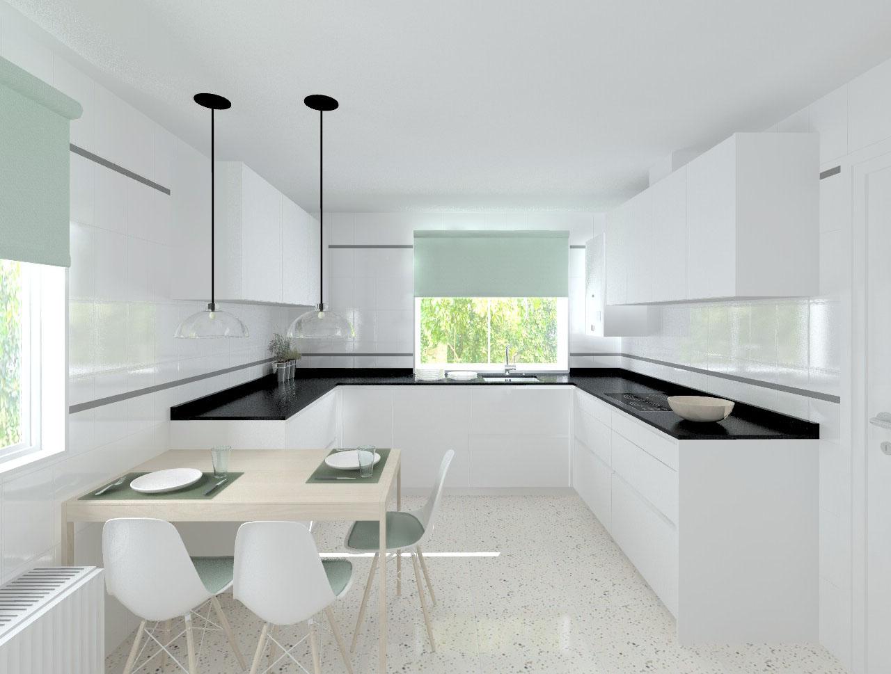 Madrid cocina santos modelo line l blanco seda mate Cocina blanca encimera granito negra