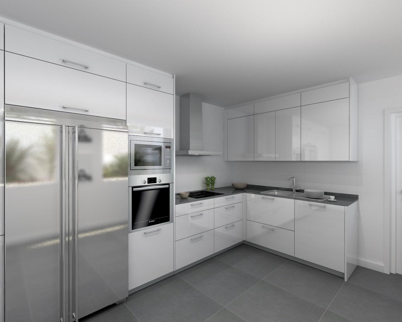 Aravaca cocina santos modelo plano laminado blanco for Encimera silestone blanco