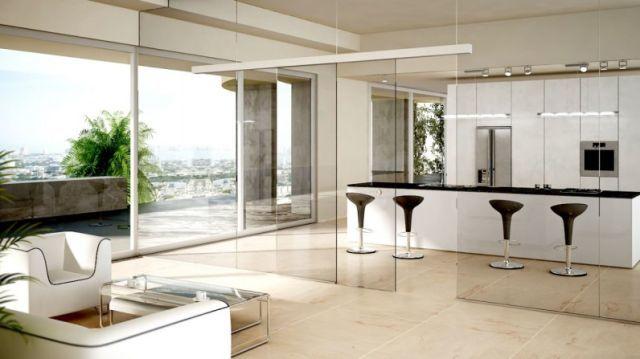 Una manera de separar tu cocina del resto de estancias for Cocina separada por un techo de vidrio