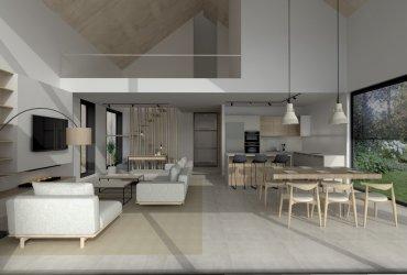 Diseño de salón y cocina abierta