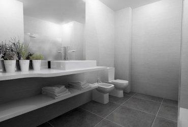 Una atmosfera atemporal y fluida en un baño neutro