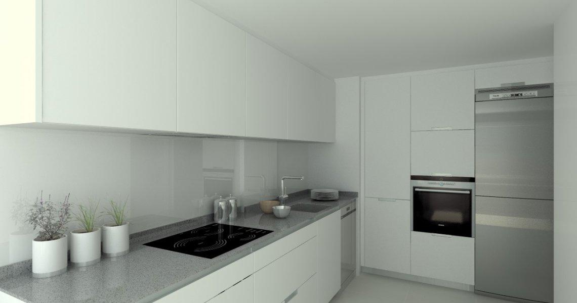 Aravaca cocina santos modelo minos estratificado - Cocinas blancas con encimera gris ...