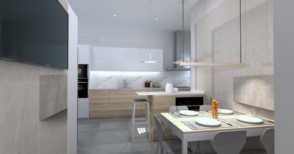 Cocina en paralelo en blanco y madera
