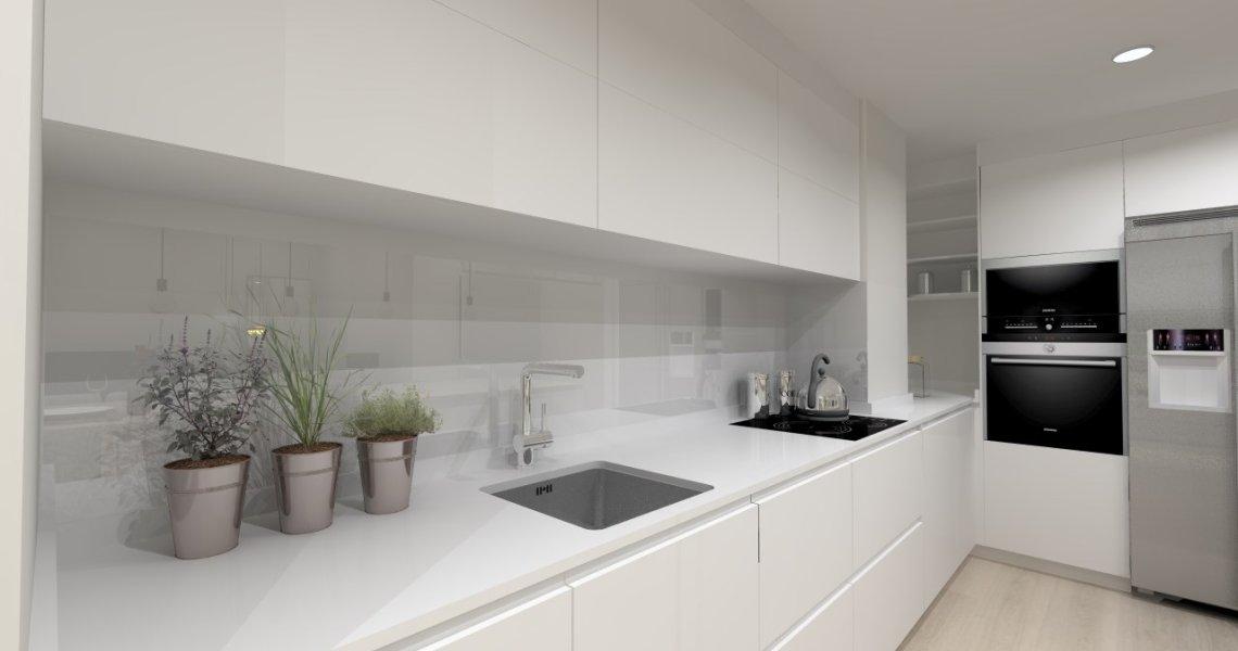 Lenguaje rectangular en una cocina