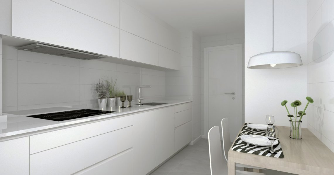 Cocina blanca en paralelo