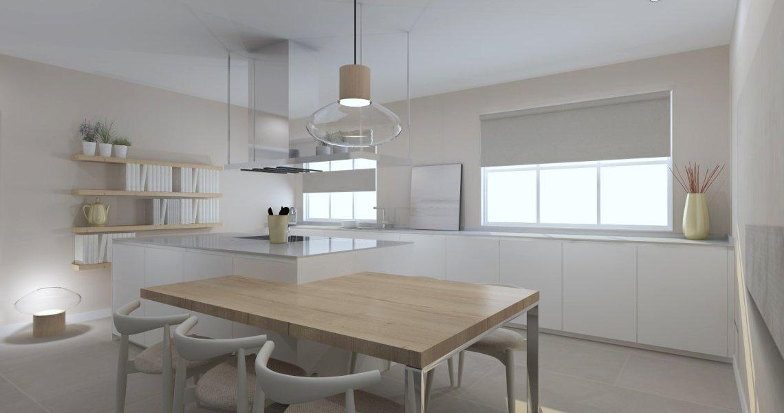 Cocina Santos color blanca con isla y encimera Dekton Zenith Mate