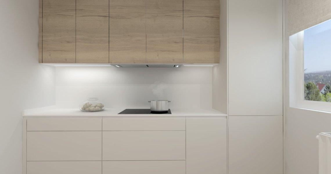 Cocina Santos blanca en paralelo con encimera de Ascale