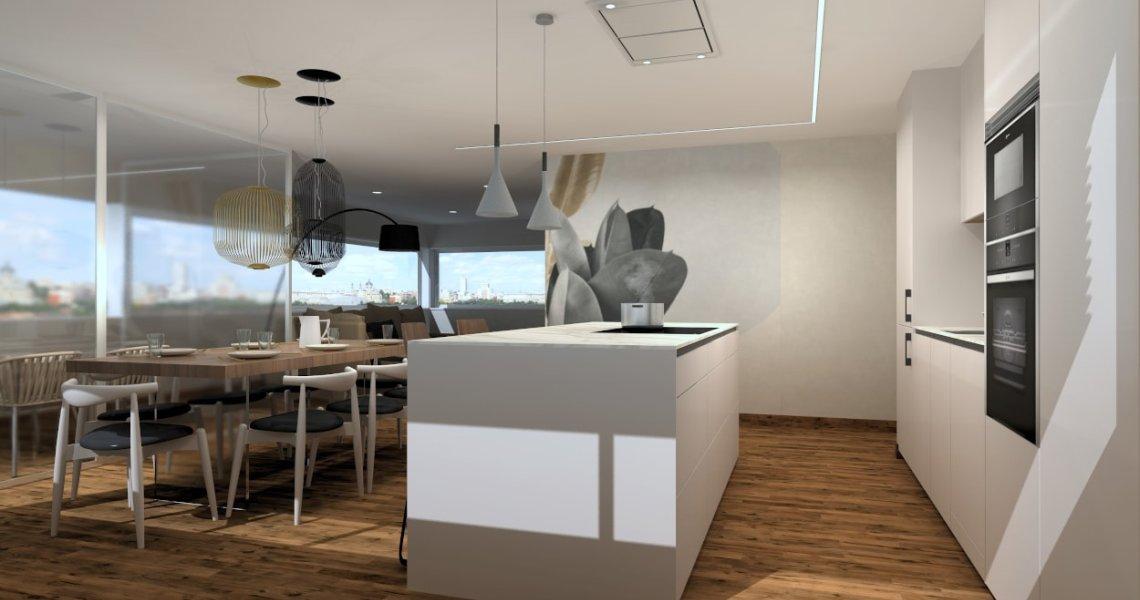 Cocina Santos Cashmere con isla abierta al salón