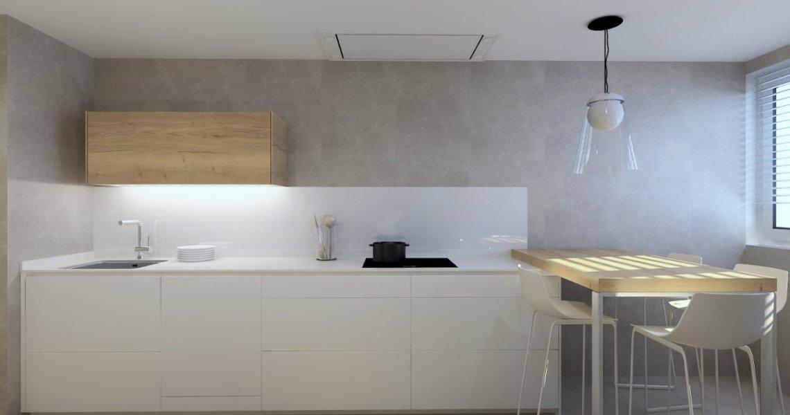 Cocina Santos cashmere y olmo claro, frente muebles altos y bajos con barra
