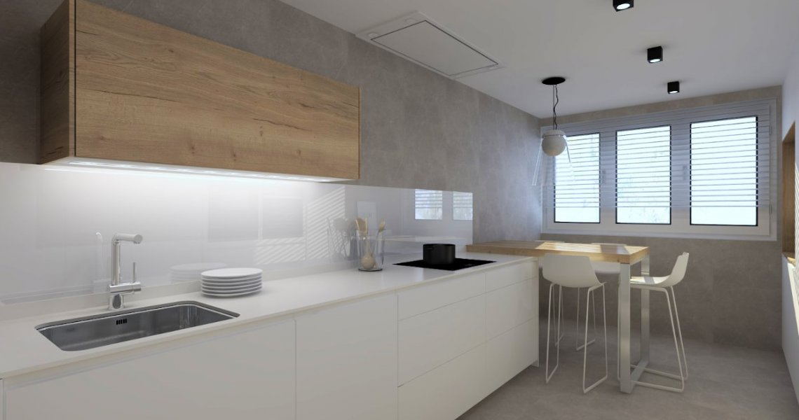 Cocina Santos cashmere y olmo claro, frente muebles altos y bajos