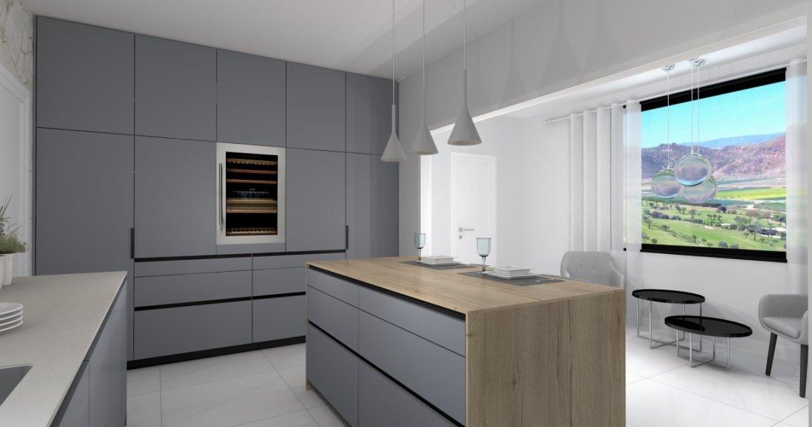 Cocina Santos con muebles en gris visón seda