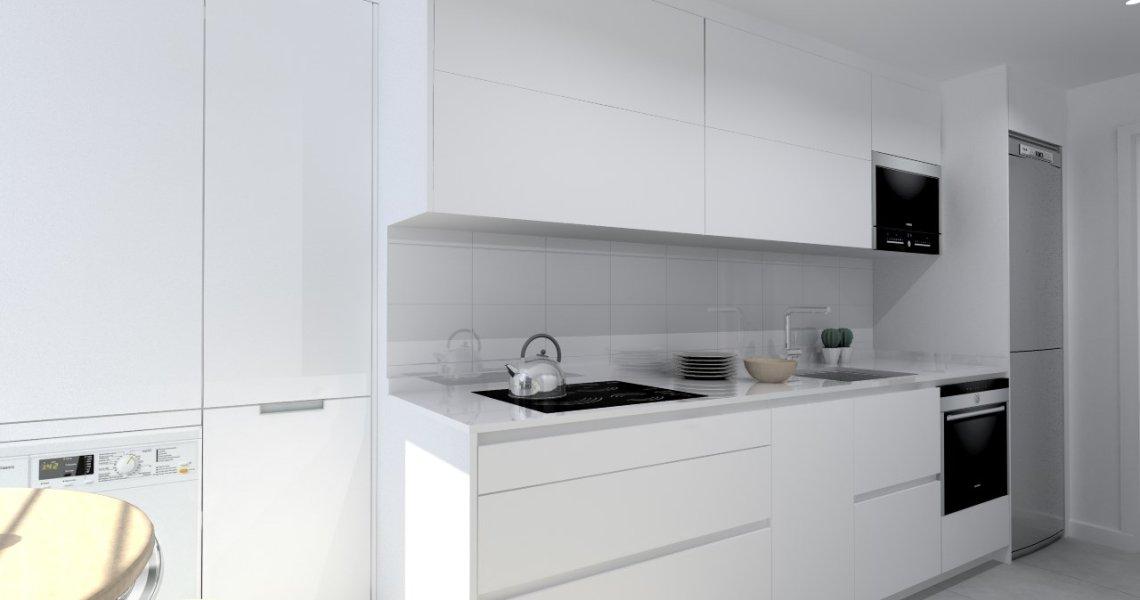 Cocina Santos Modelo Line Laminado Seda Blanc Encimera Silestone Blanco