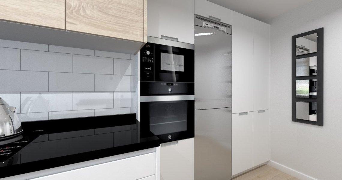 Aravaca cocina santos modelo line estratificado blanco for Cocina con electrodomesticos de color negro