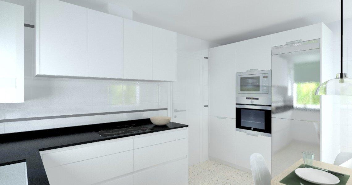 Madrid cocina santos modelo line l blanco seda mate - Encimera granito negro ...