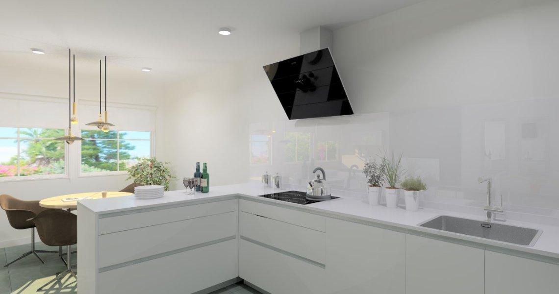 Cocina santos modelo line l 053 minos laminado blanco for Encimera blanco cristal