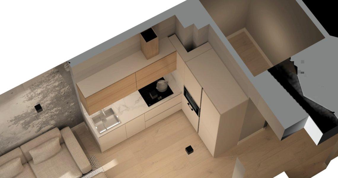 Vista desde arriba Cocina Santos cashmere y roble