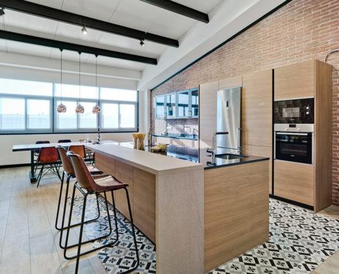 Muebles de Cocina Santos en color nogal - Modelo Line -E Nogal