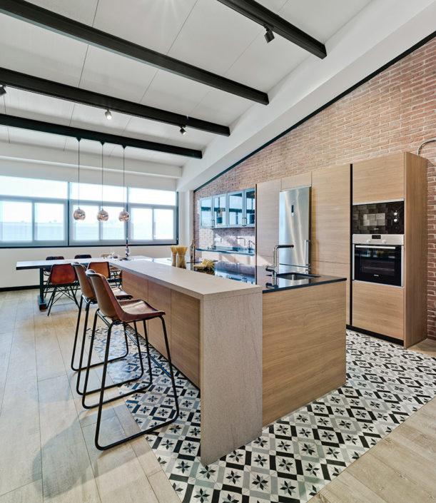 Modelo Santos Line-E Nogal | Cocinas mobiliario