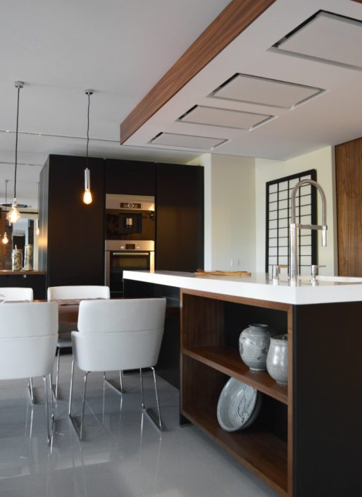 Mobiliario de cocina - Modelo Santos Line Laca Negro + Encimera Dalian Blanco