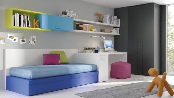 JJP_Dormitorio cama arrastre con escritorio, estantería y armario