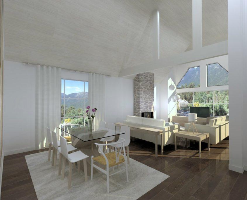 salón abierto con ventanales