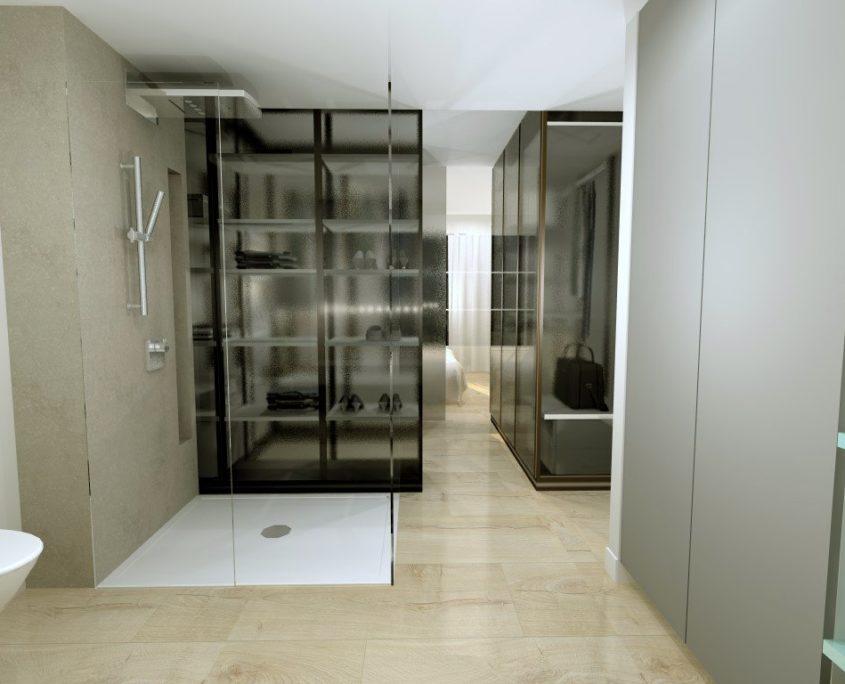 habitación y baños separados por vestidor