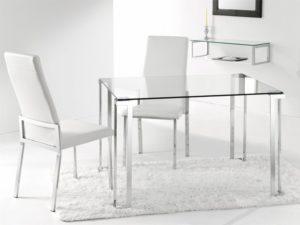 mesa transparente salón moderno