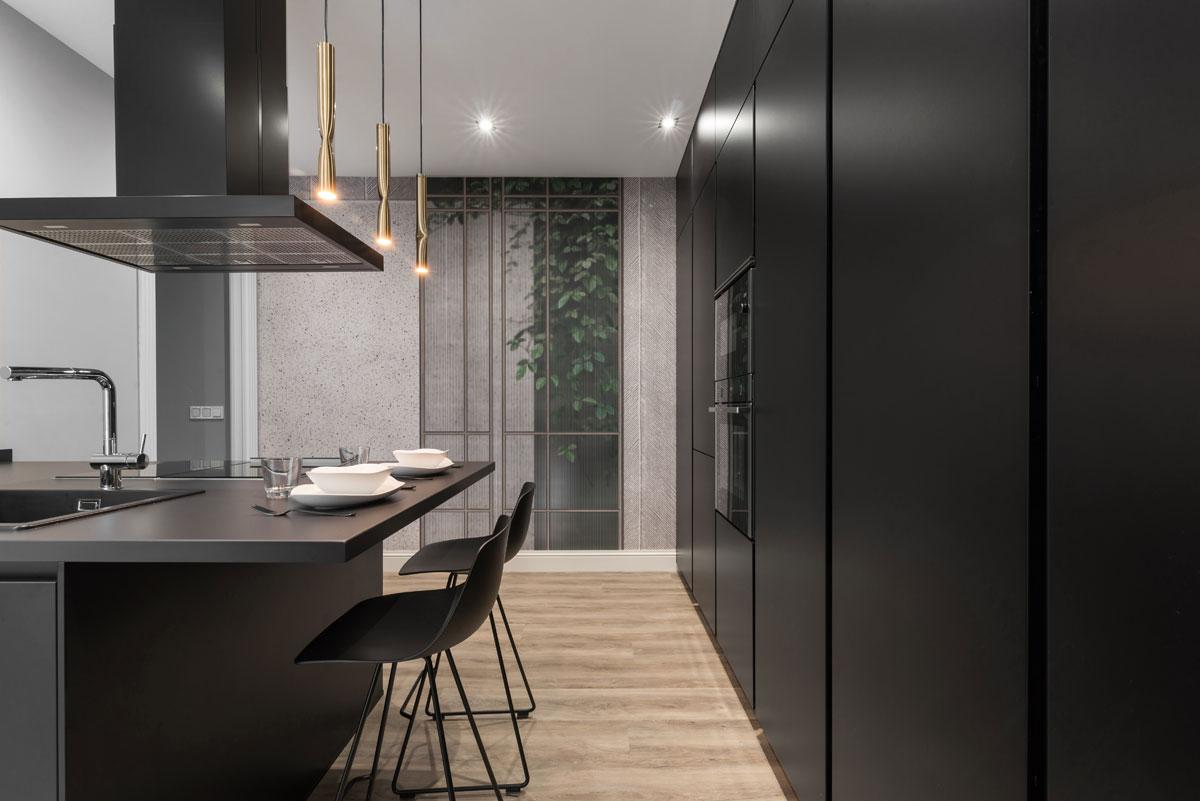 Cocina de diseño moderno Santos total black